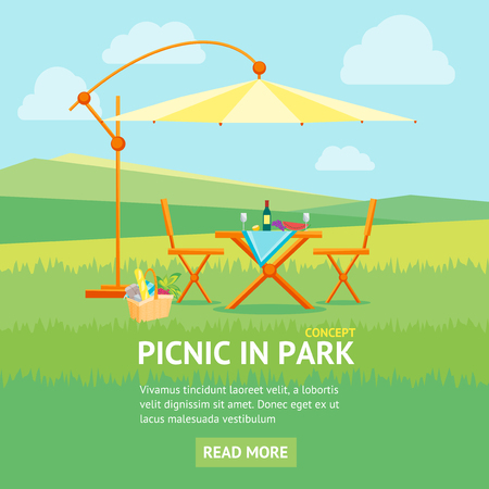 lawn chair: Summer Picnic in Park Banner Flat Design Style. Table, Chairs and Umbrella. Outdoor Recreation. Vector illustration