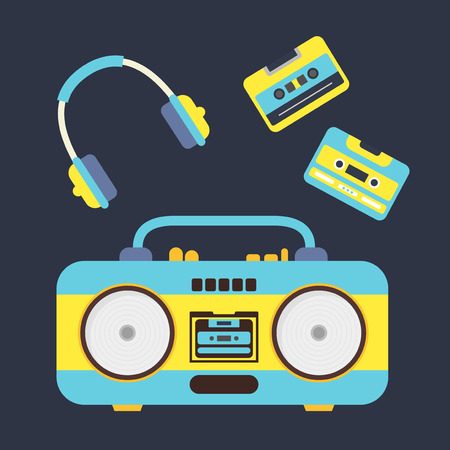 boombox: Cartoon Boombox, Cassettes and Headphones Set. Music Equipment Flat Design Style. Vector illustration