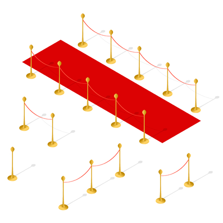 Red Carpet and Rope Barrier Set Isometric View. Vector illustration Illustration