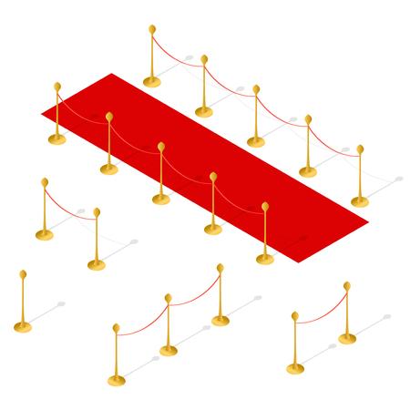 Rode loper en touw barrière Set isometrische weergave. Vector illustratie