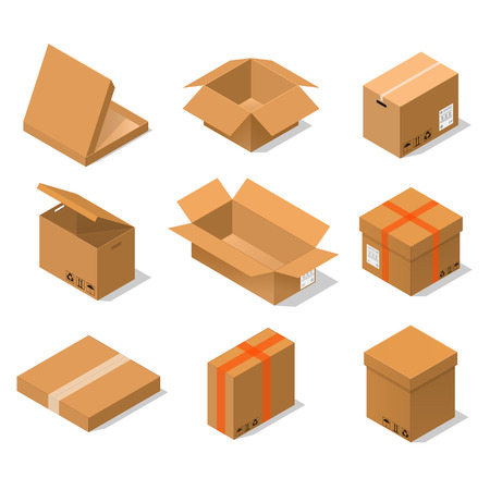 Cardboard Boxes Set Isometric View Various Shapes Of Packaging - Open, Close, Big And Small. Vector illustration Illustration
