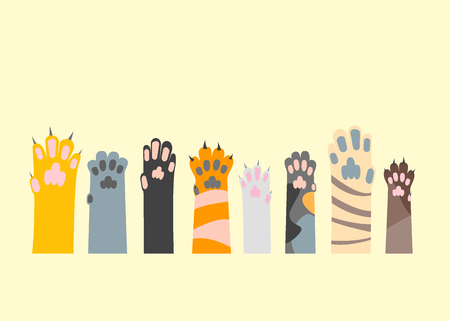 Cartoon Different Cat Paw Set. Flat Design Style. Game with Pet and Care Vector illustration Vettoriali