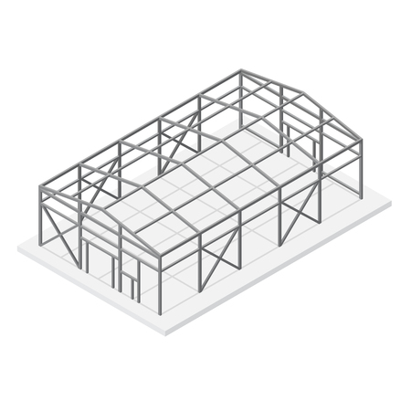 Building Hangar Or Warehouse Metal Construction Frame Roof And ...