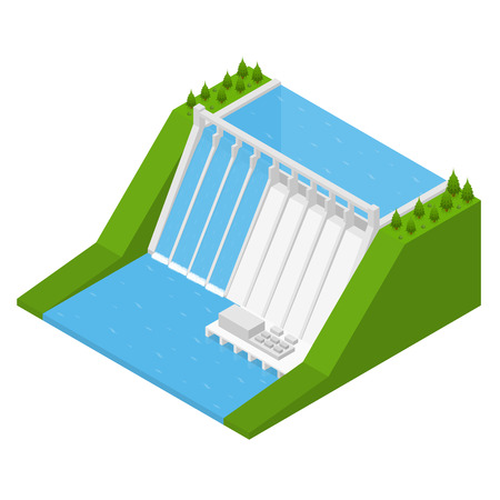 Hydroelectricity Power Station Isometric View Alternative Energy Concept. Dam on The River Vector illustration