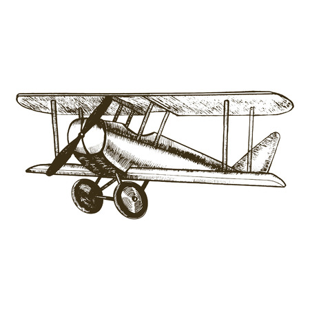 Retro Plane Hand Draw Sketch Vintage Biplane with Propeller Can Be Used for Posters and Cards. Vector illustration Stock Vector - 67919814