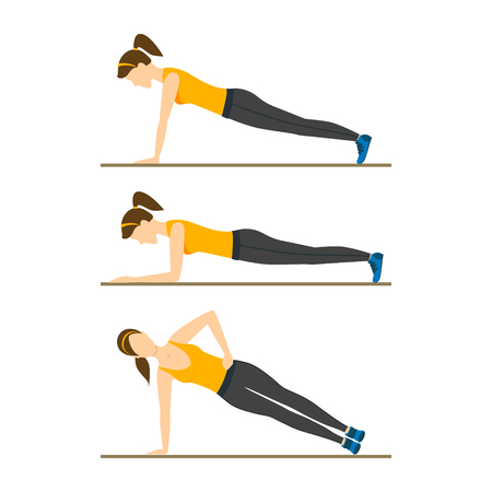 plank: Woman Making Right Plank Position or Posture. Exercise Workout. Flat Design Style Vector illustration