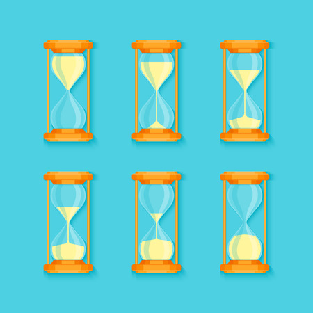 Transparent Sandglass Set on Blue Background Flat Design Style Process Timer Hour or Minute. Vector illustration