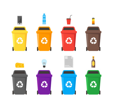 Colorful Recycle Bins Set with Examples for the Separation and Utilize of Garbage. Saving Of The Environment Vector illustration Illustration