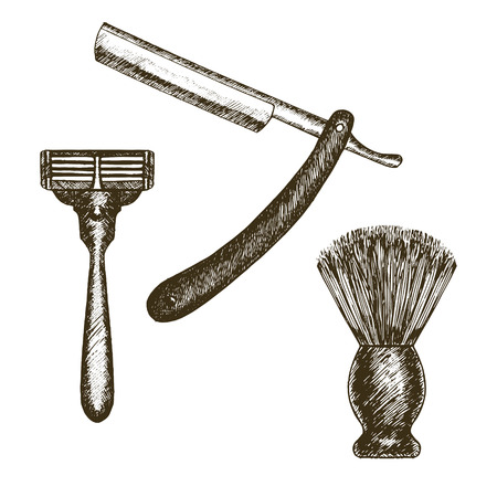 set of men hair styling: Vintage Style Shaving Accessories Set Razor and Brush Hand Draw Sketch. Doodle Drawing for Barbershop Vector illustration Illustration