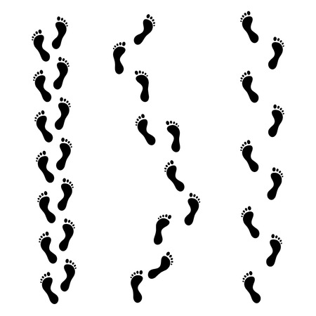 Foot Trail. Footprints or Barefoot Set Black on Light.. Vector illustration