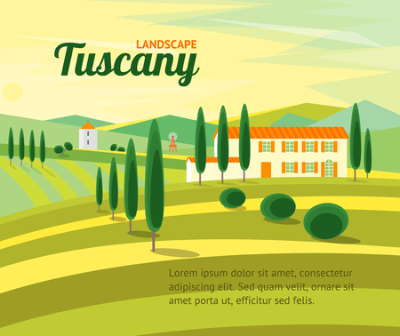 Tuscany Rural Landscape with Houses Banner Card for Your Business. Flat Design Style. Vector illustration Çizim