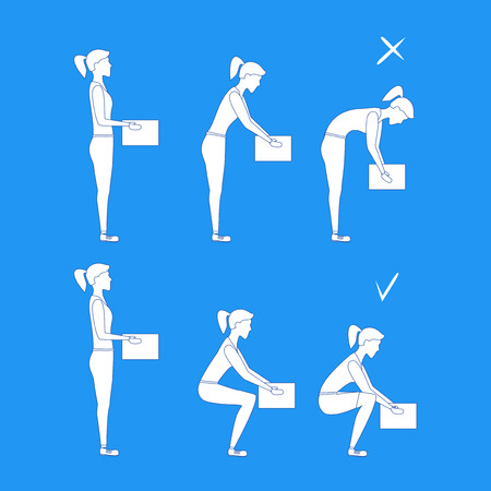 Lifting Box Correct and Incorrect Position Girl White Silhouette. Poster with the Instruction. Flat Design Style. Vector illustration Illustration