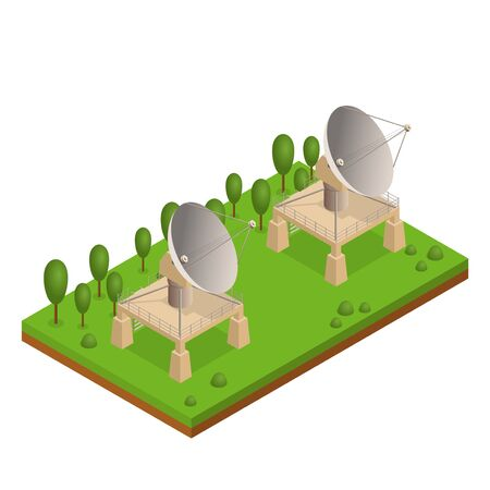 Satellite Dish Antenna or Radar On a Green Landscape with Plants Isometric View for Transmit and Reception Data. Vector illustration
