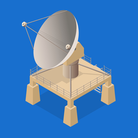 Satellite Dish Antenna or Radar on a Blue Background Isometric View for Transmit and Reception Data. Vector illustration