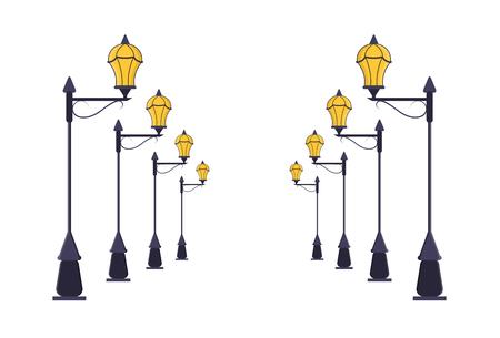 lamp post: Street Lamp Post Set. Urban Light Pole Road Perspective Lines. Flat Design Style. Vector illustration