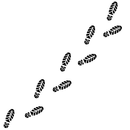 line up: Shoes Trail. Footprints Line Up. Right and Left Bootprint Vector illustration
