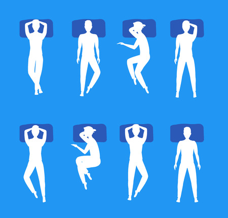 Different Sleeping Poses Set White Silhouette. Top View Man and Woman. Flat Design Style. Vector illustration