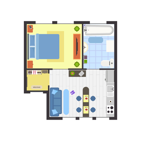 Apartment Floor Plan With Furniture Top View Basic Room Of Home Custom Apartments Floor Plans Design Style