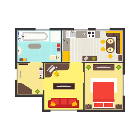 Apartment Floor Plan With Furniture Top View Colorful Floorplan New Apartments Floor Plans Design Style