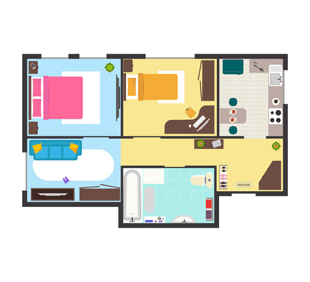 Apartment Floor Plan With Furniture Top View Detailed Scheme Adorable Apartments Floor Plans Design Style