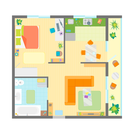 residence: Apartment Floor Plan with Furniture Top View. Family Residence Flat Design Style. Vector illustration