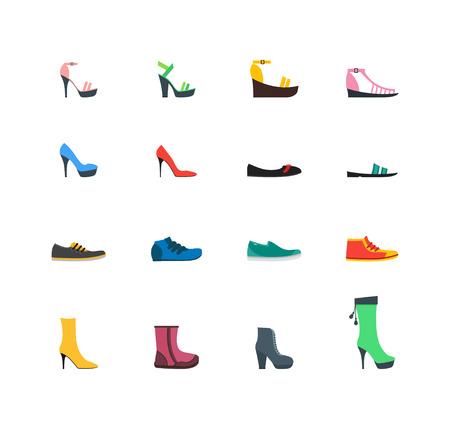 Kleur Vrouwenschoenen Set Fashion Seizoensgebonden Winkelen Flat Design Style. Vector illustratie