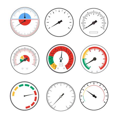Manómetro Medidor de temperatura Dispositivos redondos conjunto Indicador Mínimo y Máximo. ilustración vectorial Ilustración de vector