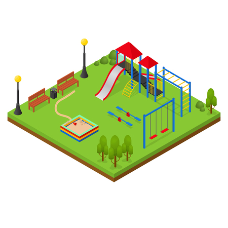 Urban Outdoor Playground Isometric View Park Square for Leisure Kids. Vector illustration