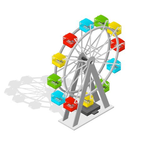 Colorful Big Ferris Wheel Isometric View for Happy Children. Vector illustration