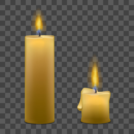Realistic Paraffin Candles with Flame Fire Light Set on a Transparent Background. Vector illustration Illustration