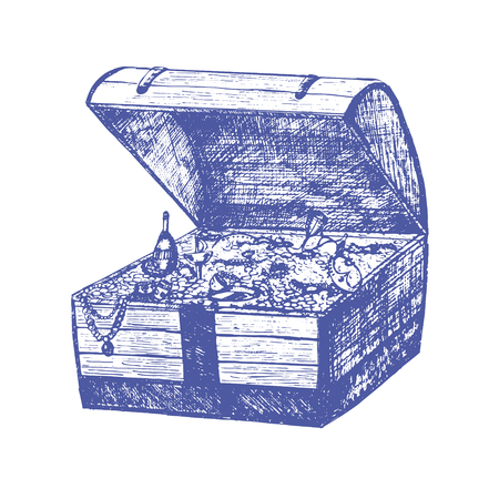 wood crate: Open Full Pirate Treasure Chest and Coin Hand Draw Sketch. Retro Vintage Style. Vector illustration