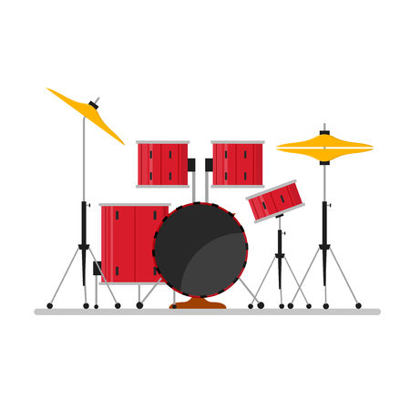 jazz drums: Cartoon Color Drum Kit or Set Musical Instruments for Concerts and Parties. Flat Design Style Vector illustration
