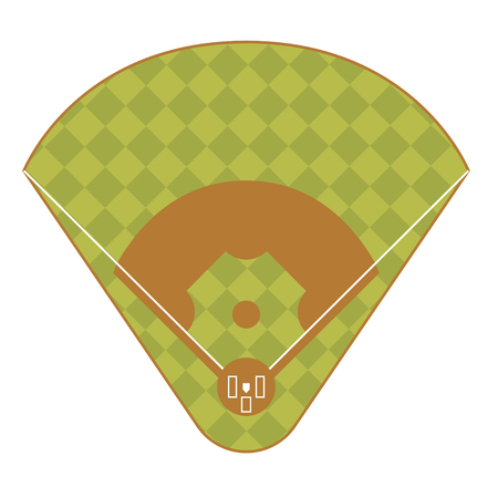 outfield: Baseball Game Field Base Top View. Competition Play Team for Sports and Leisure Vector illustration Illustration