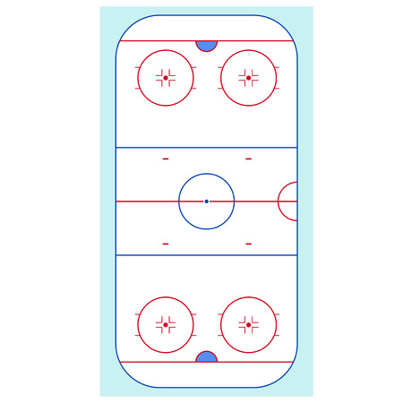 Ice Hockey Rink Top View Competition Play Team for Sports and Leisure. Vector illustration Illustration