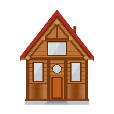 log wall: Wooden Country House. Private Hut for a Rest Rural Vector illustration Stock Photo