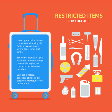 Restricted Items Set and Suitcase Banner Card Flat Design Style. Vector illustration Stock Photo