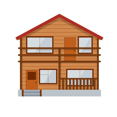 Wooden Country House or Cottage Facade Of Traditional Architectural Style. Vector illustration Stock Photo