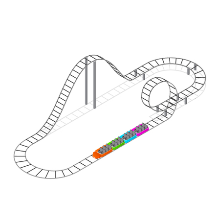 Roller Coaster Attraction Isometric View. Vector Illustration