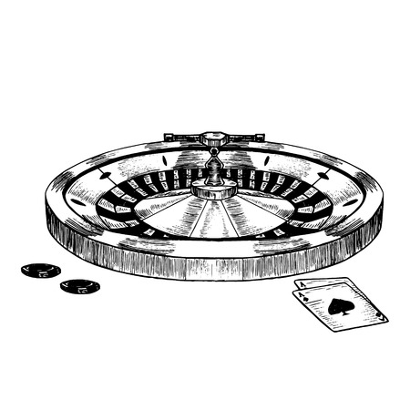 Casino Roulette Wheel Hand Draw Sketch. Vector