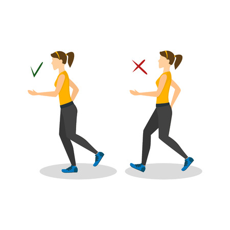 incorrect: Correct or Incorrect Positions for Running. Vector Illustration