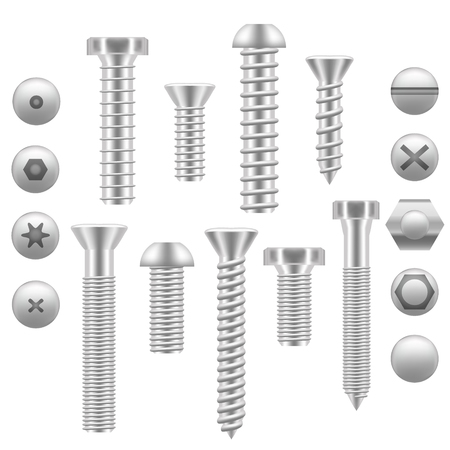 screws: Realistic Screw Icon Set Different Shapes. Vector