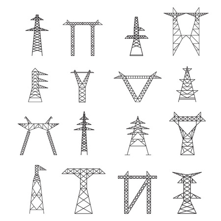Silhouetten van High Voltage Electric bericht Icon Set Thin Line Pixel Perfect Art. Materiaal ontwerp. vector illustratie Stock Illustratie