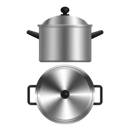 Realistic Metal Pot or Casserole. Vector