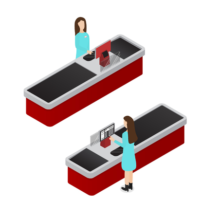 Cashier Isometric View. Vector