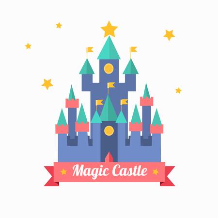 Cartoon Magic Castle Fairytale Medieval House. Vector