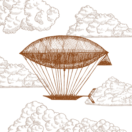 blimp: Zeppelin in Clouds on Sky Hand Draw Sketch. Vector
