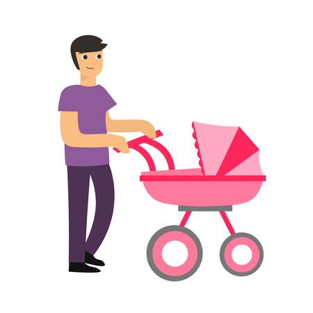Cartoon Cute Dad with a Stroller. Vector Illustration