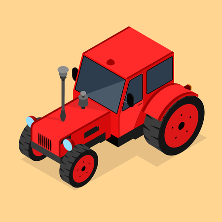 Red Tractor Isometric View. Vector