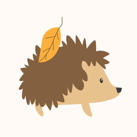 spiked: Cartoon Cute Hedgehog. Vector