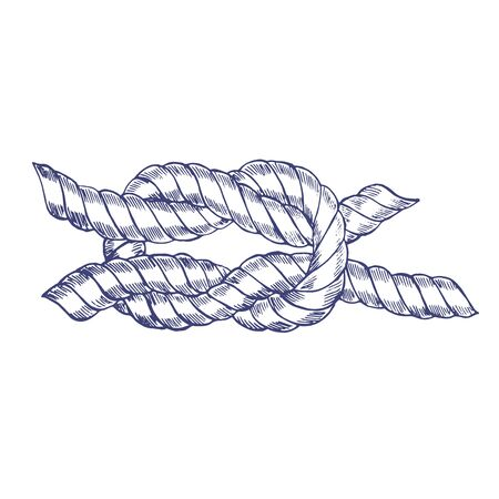 Sea Knot Rope Hand Draw Sketch. Vector Stock Photo
